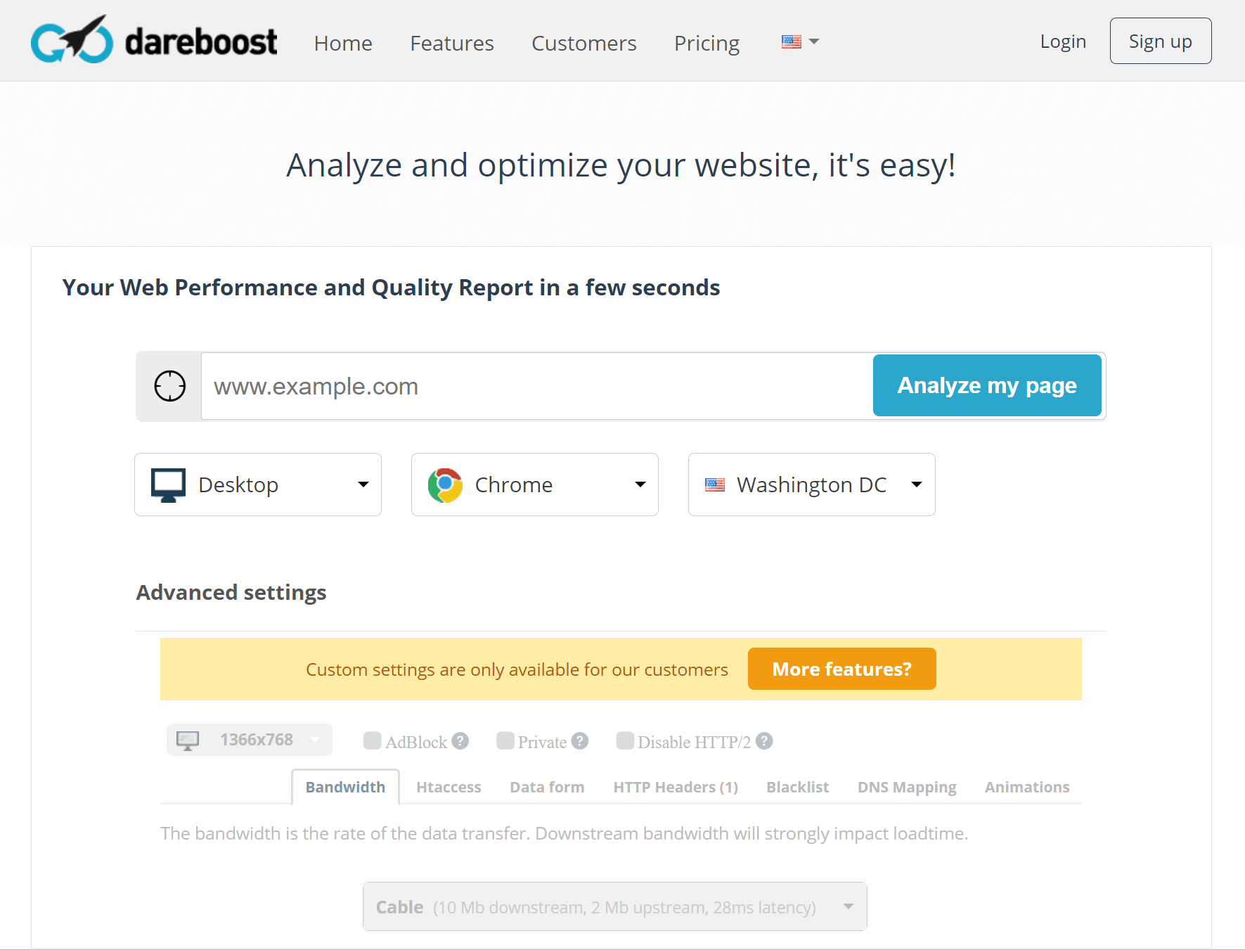dareboost website speed test