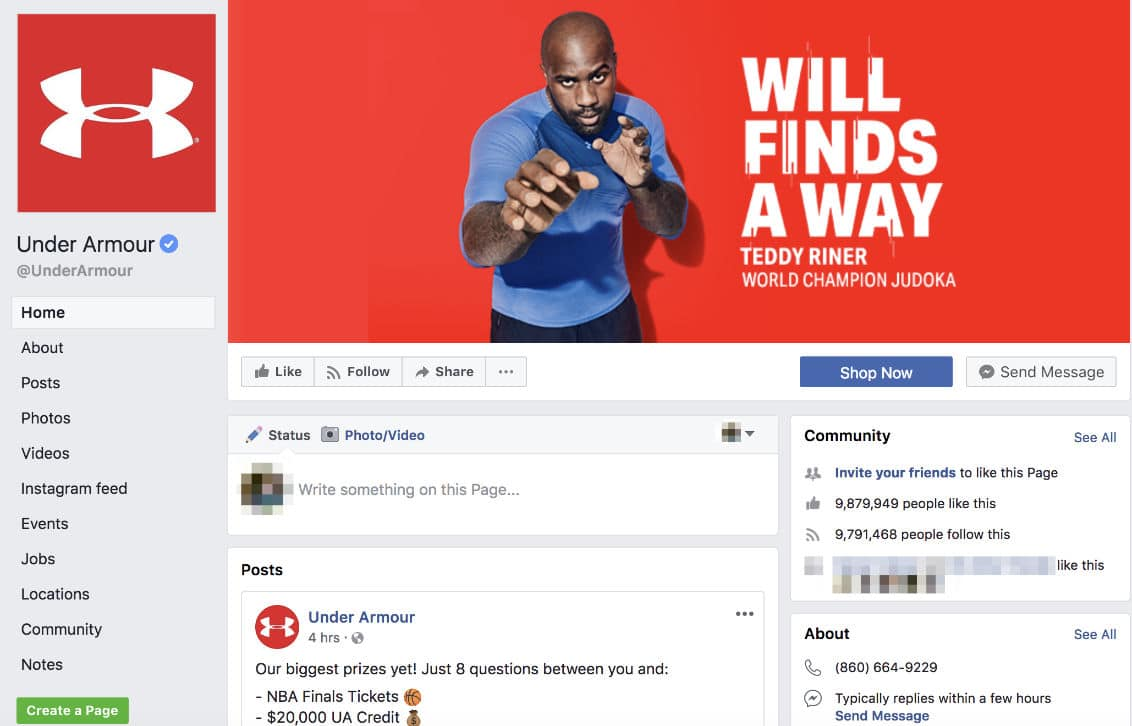 Under Armour Facebook page