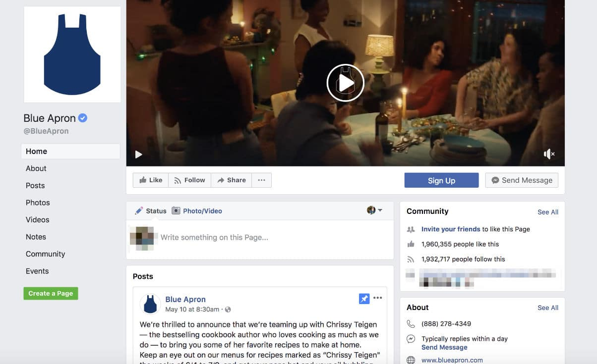Blue Apron Facebook page (video example)