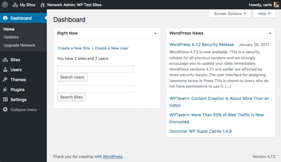 WordPress Multisite dashboard