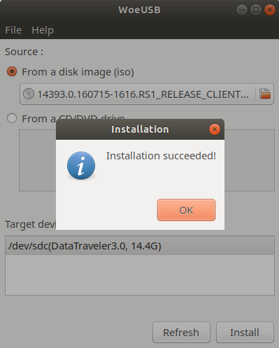 Installation done for Windows 10 on Linux