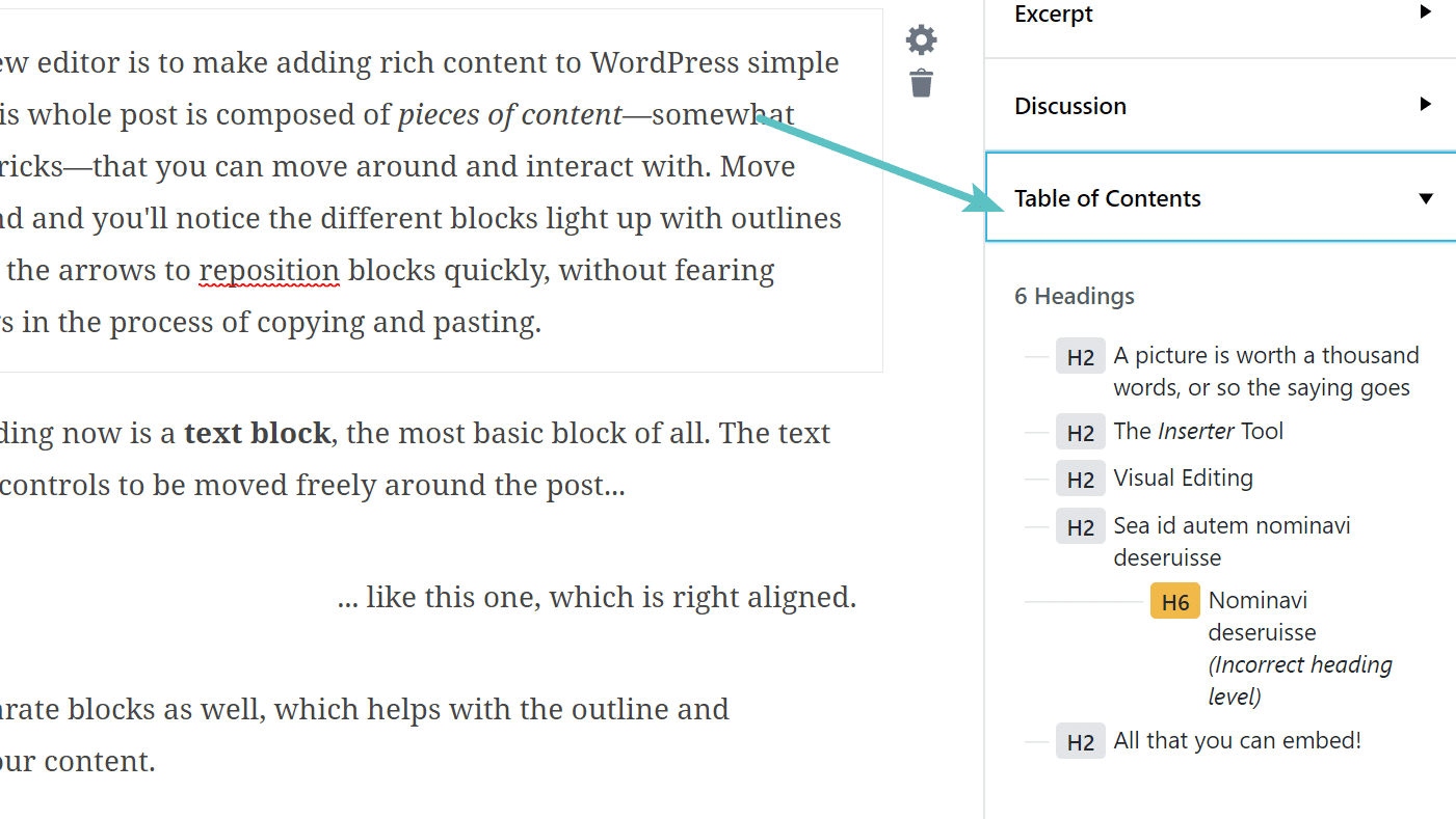 Gutenberg table of contents