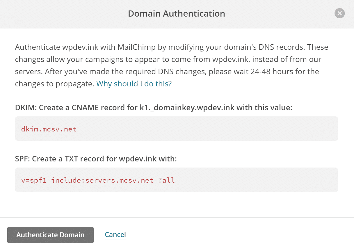 mailchimp domain authentication records