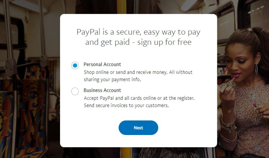 Choose PayPal account