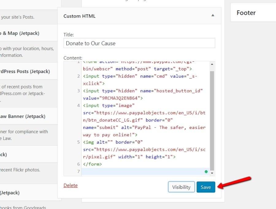 Paste PayPal embed code into widget