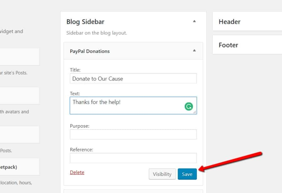 Customize PayPal Donations widget