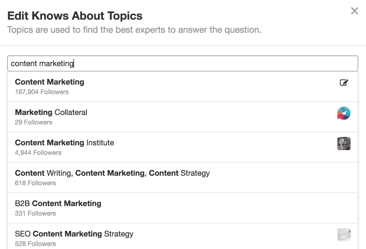 Quora knows about topics