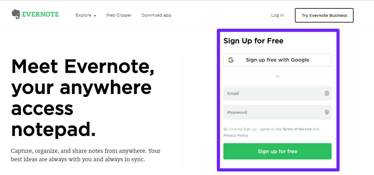 Evernote sign up