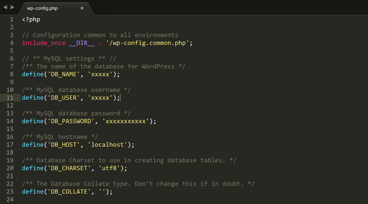 wp-config.php credentials