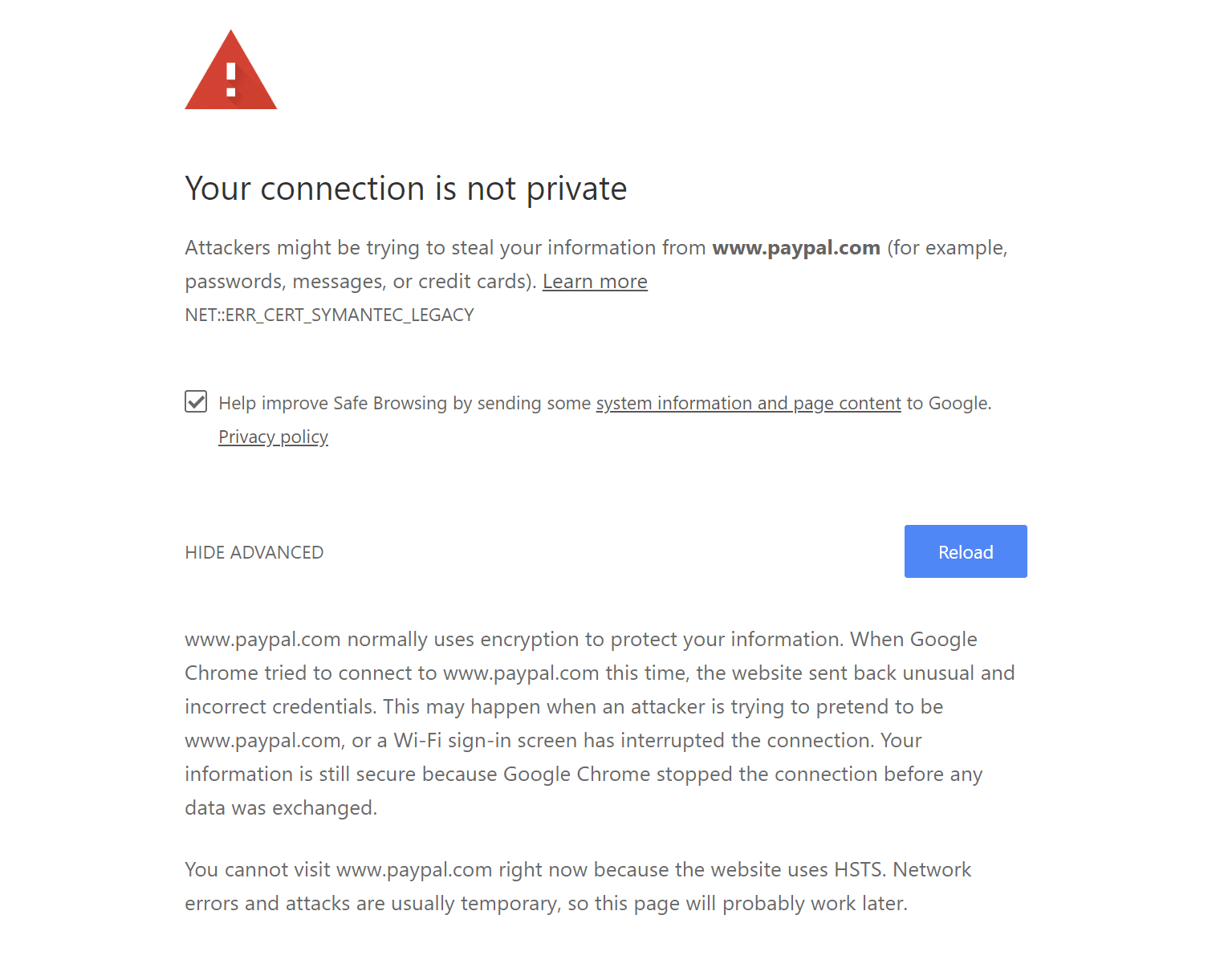 Your connection is not private error in Chrome