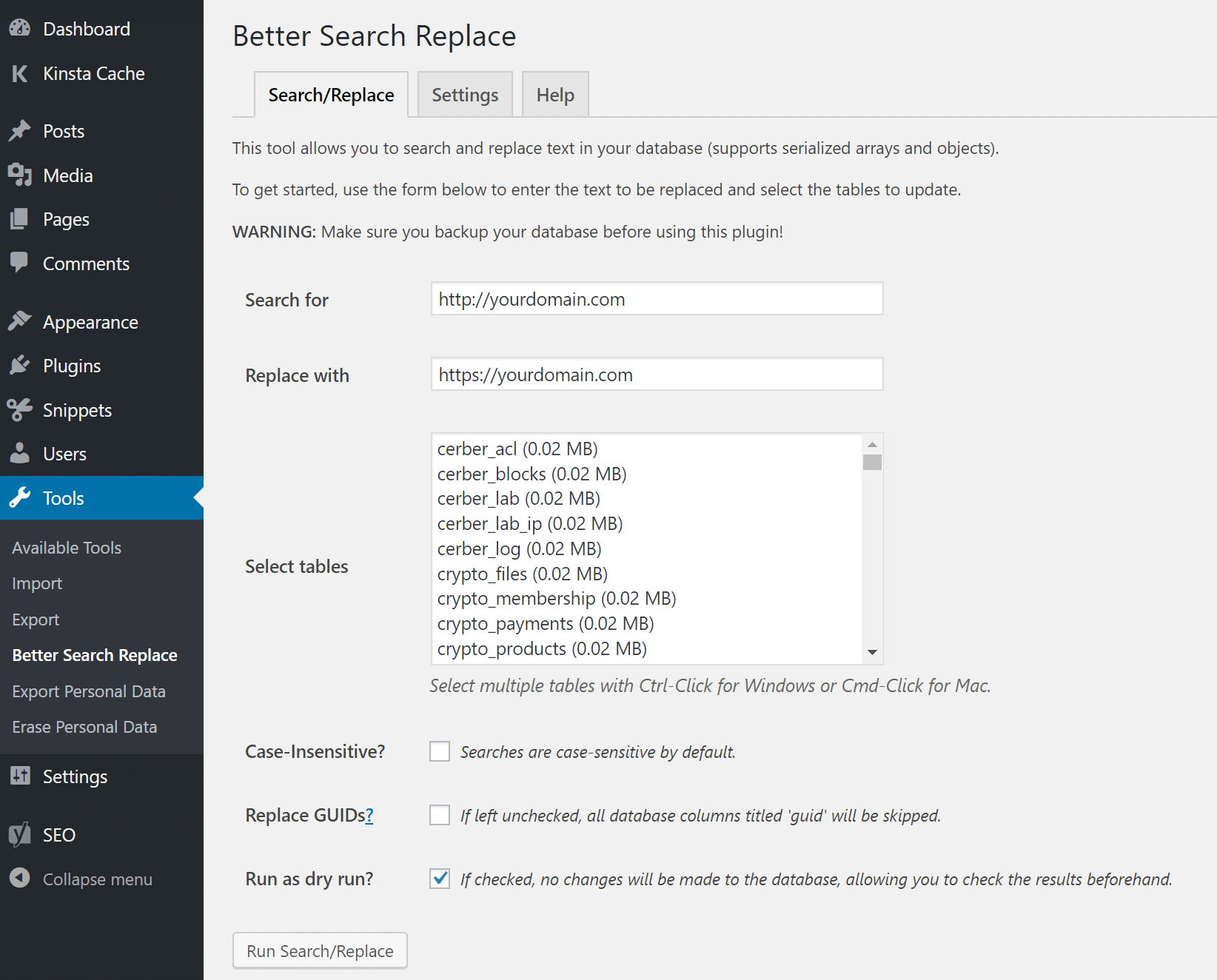 Better Search Replace options