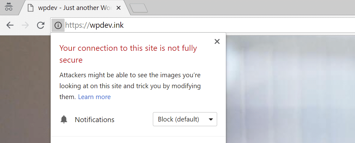 Chrome mixed content warning