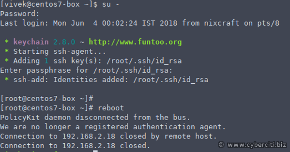 How to restart linux server from putty on Windows