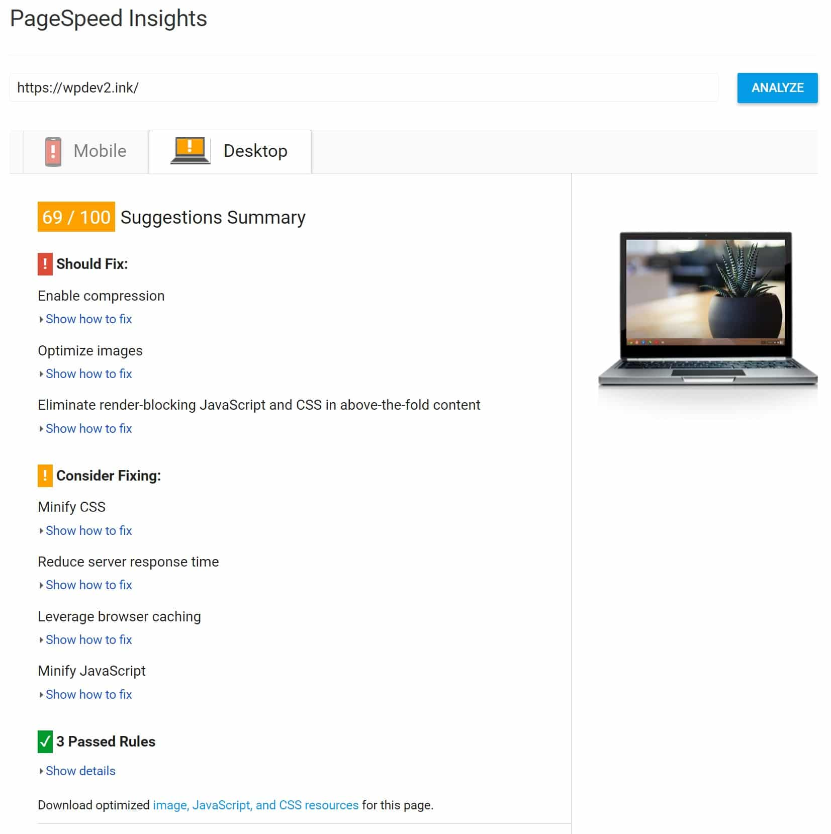 shared hosting google pagespeed insights