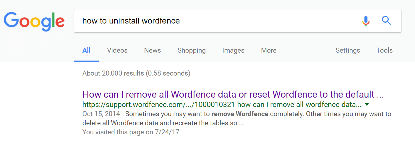 How to uninstall WordFence
