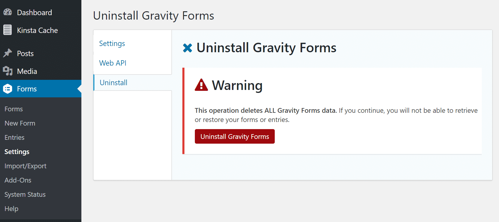 Uninstall Gravity Forms