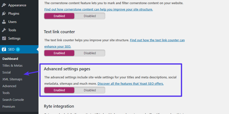How to enable Yoast SEO advanced settings pages