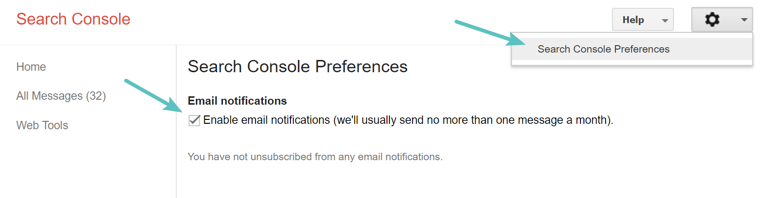 Google Search Console notifications