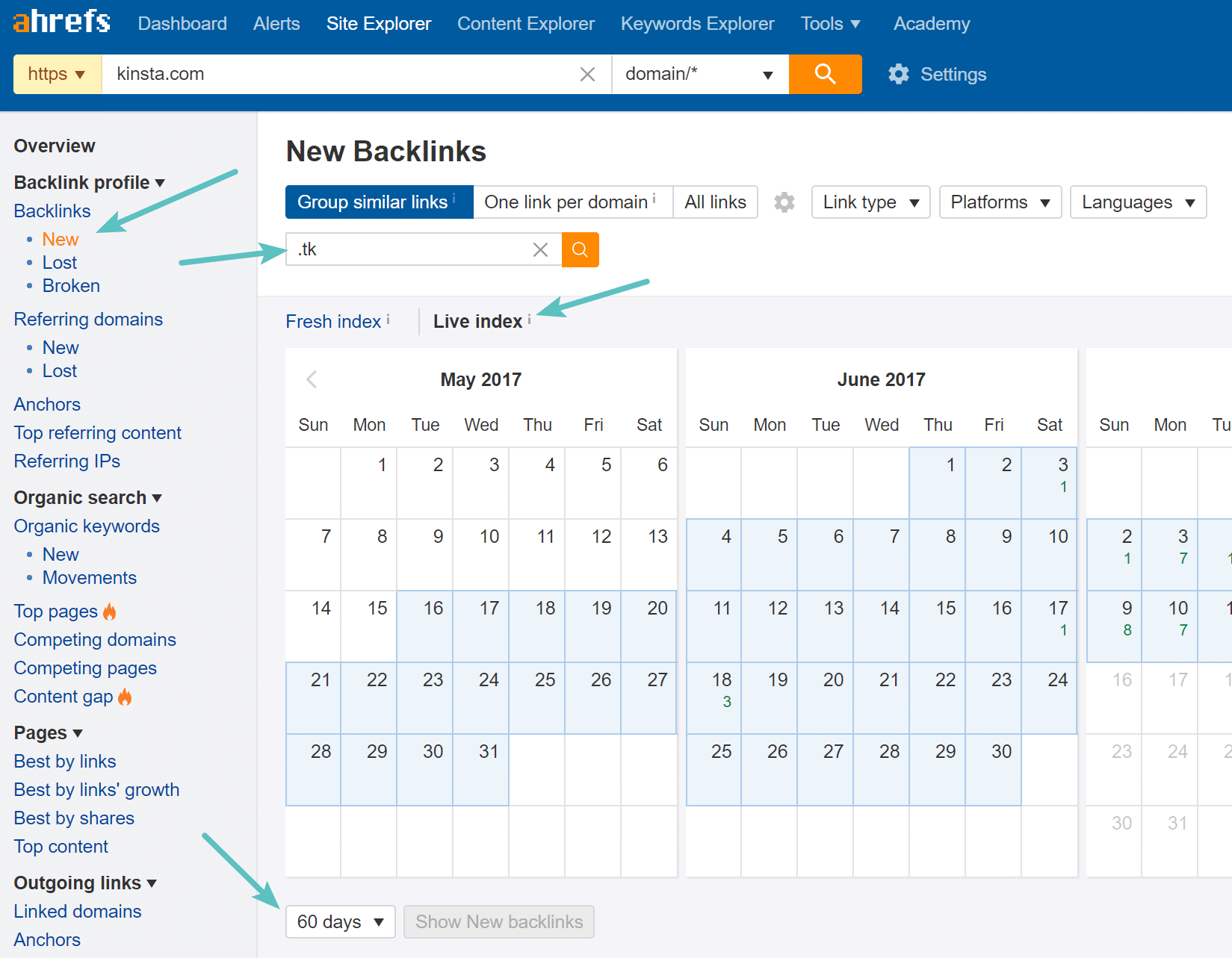 Filter backlinks in Ahrefs