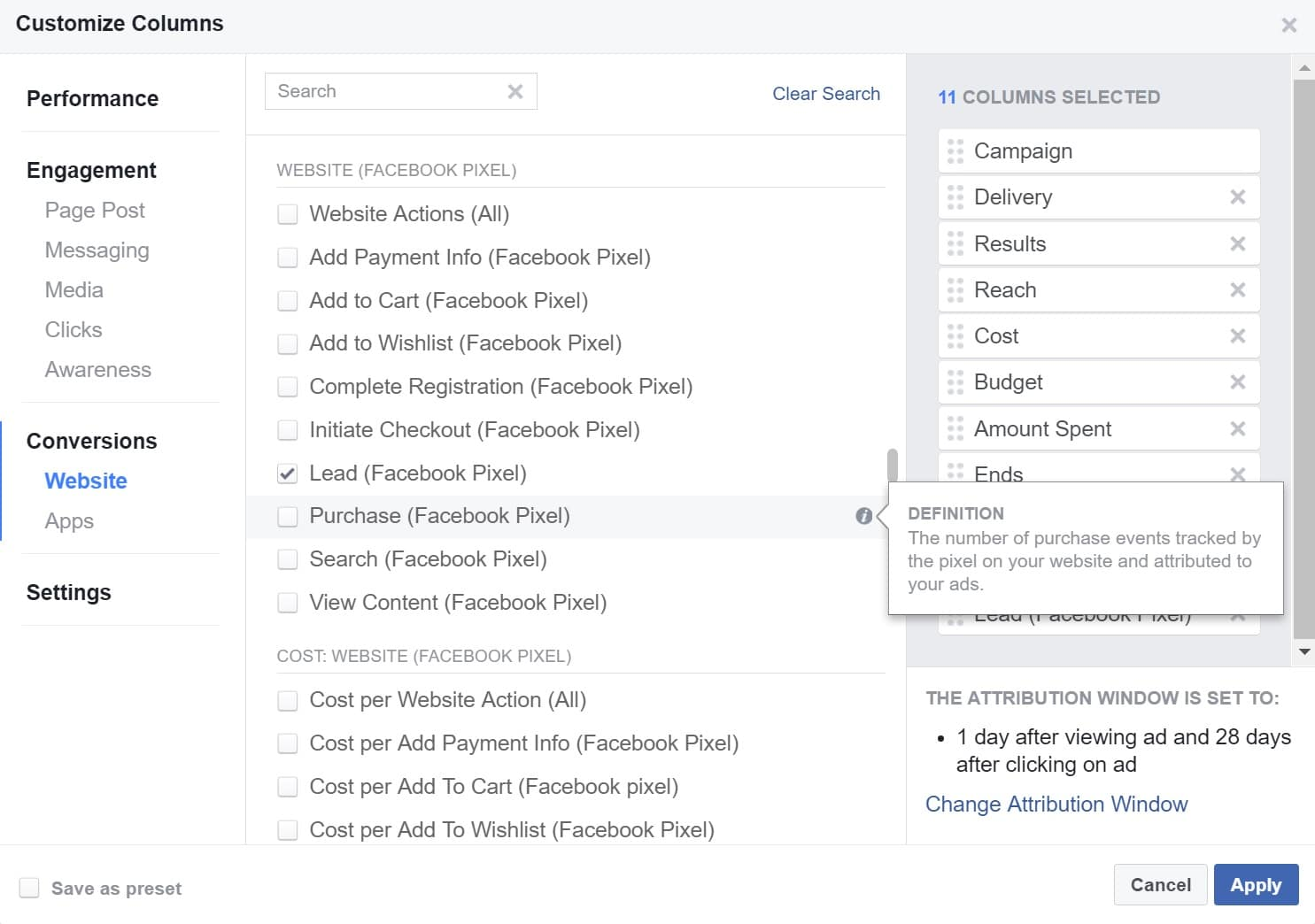 facebook ads manager purchase column