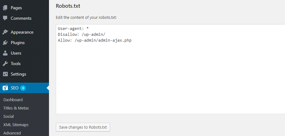 How to edit Robots.txt in Yoast