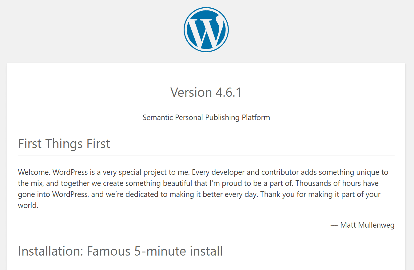 wordpress version readme