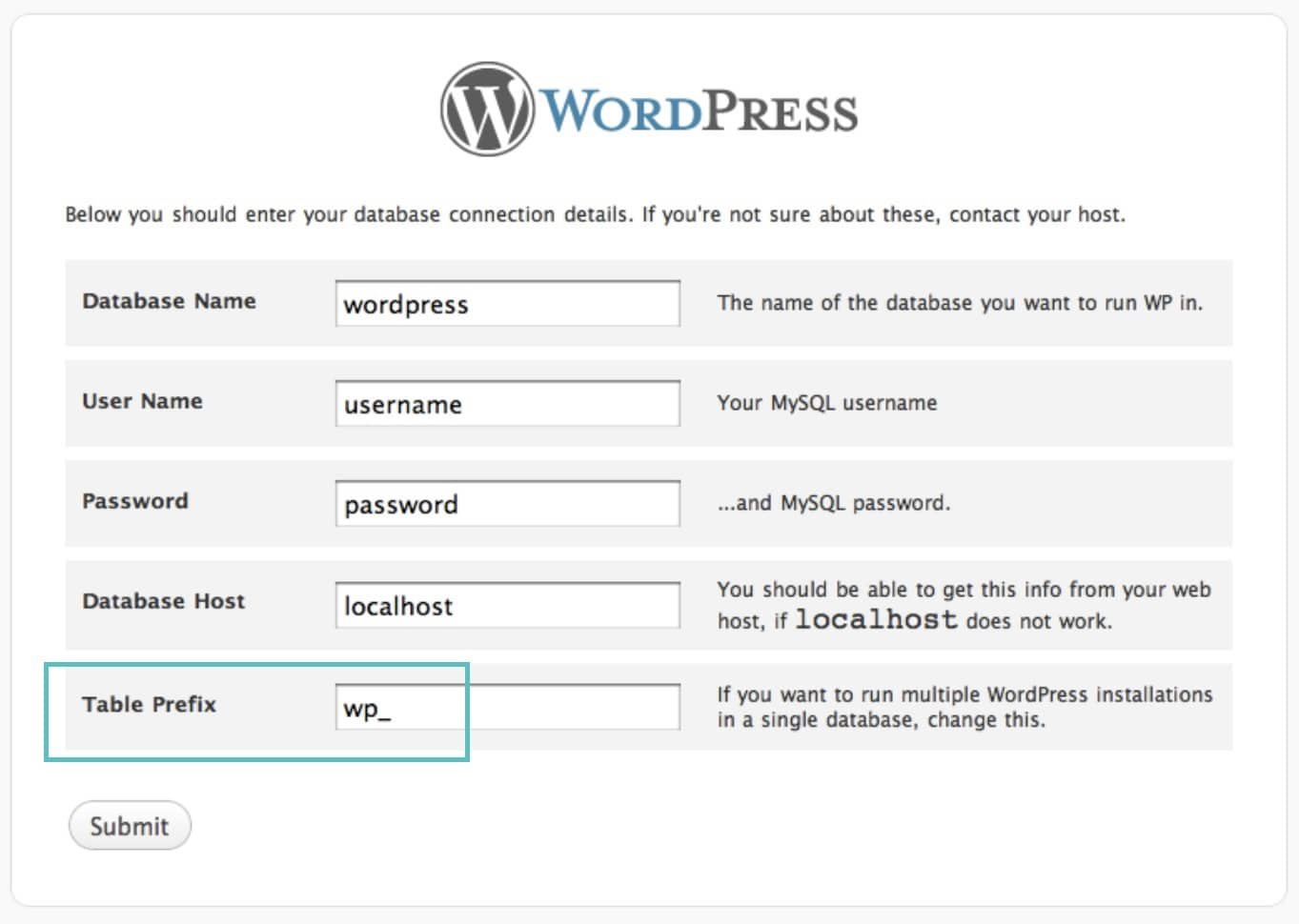 wordpress table prefix