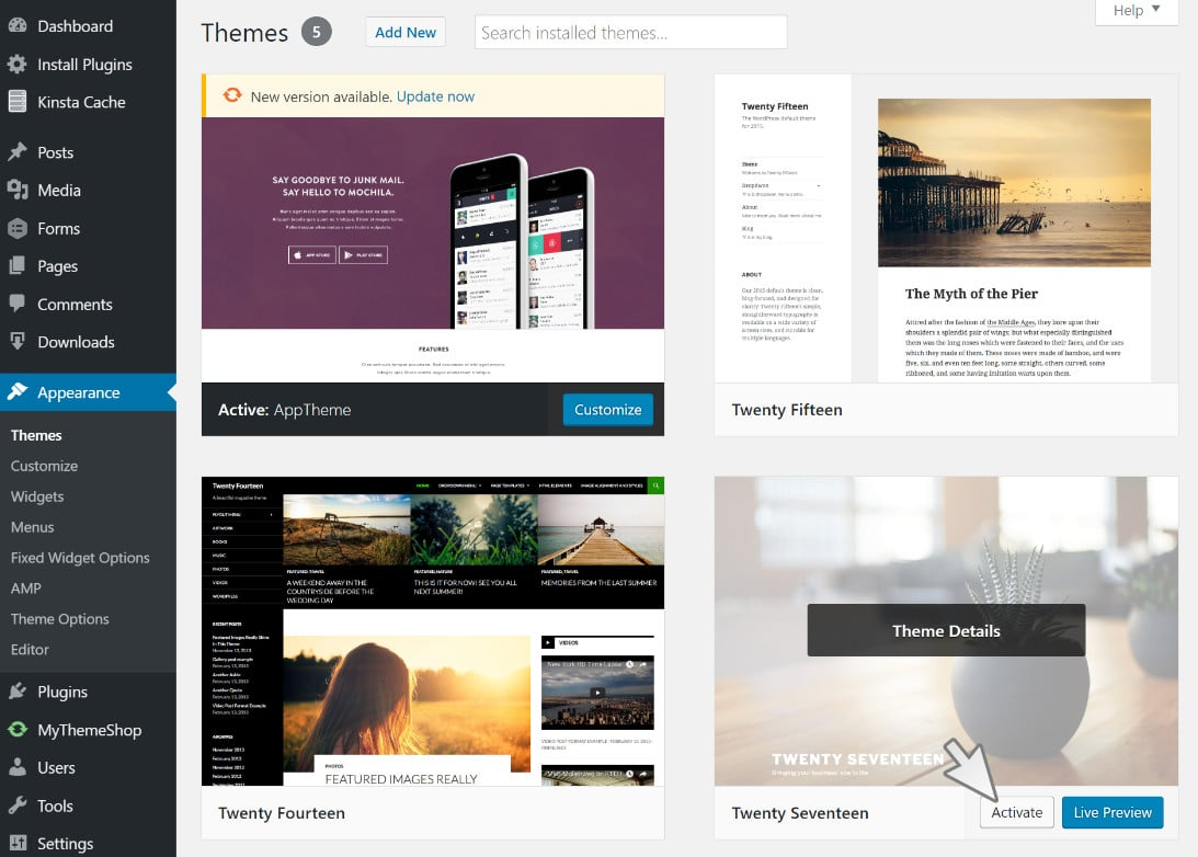 switch out wordpress theme temporarily