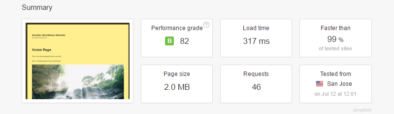 pingdom website speed test with bj lazy load plugin installed