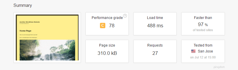 pingdom website speed test with a3 lazy load plugin installed