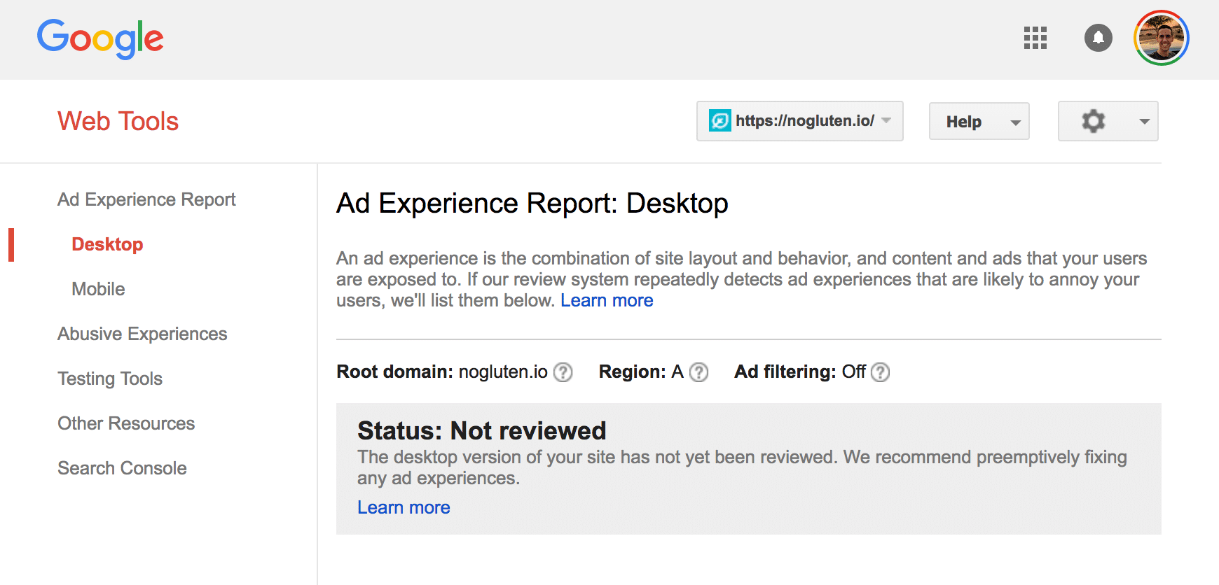 Ad Experience Report not reviewed